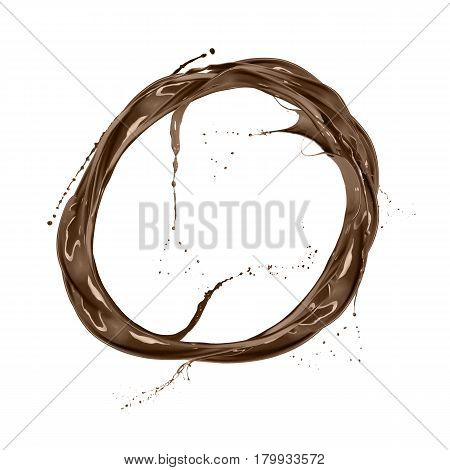 ring of liquid splash chocolate isolated on white