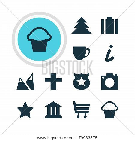 Vector Illustration Of 12 Map Icons. Editable Pack Of Bookmark, Briefcase, Jungle And Other Elements.