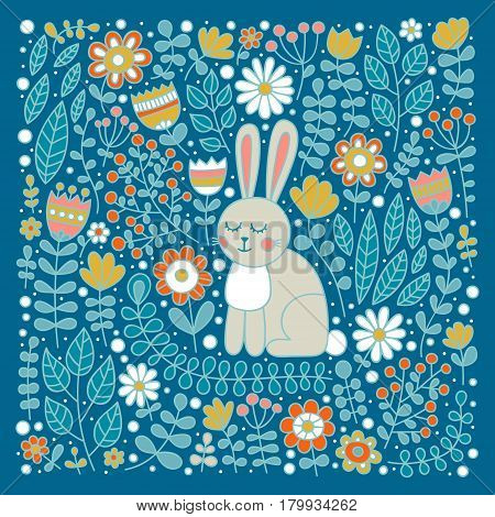 Cute bunny in flowers. Hand drawn doodle retro card with rabbit and floral ornament. Nice childish design. Vector illustration with retro colors - blue green yellow orange.