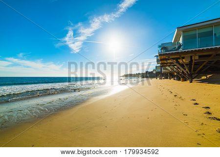 a beach house in Malibu in California