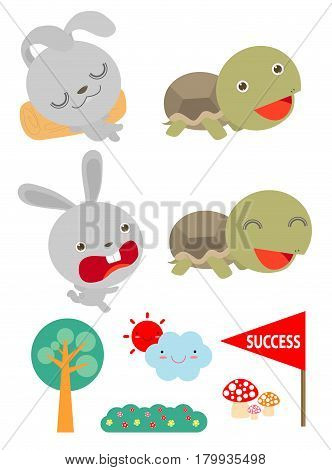 Set of Tortoise and the Hare,Turtle and rabbit racing together to win,  Flat style isolated on white background. vector illustration
