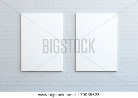 Two blank posters hanging on the wall, mock up, 3D render