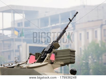 Heavy machine gun. It is installed on the infantry fighting vehicle.
