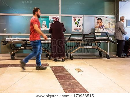 Eskisehir, Turkey - March 28, 2017: Empty Stretcher In A Hospital