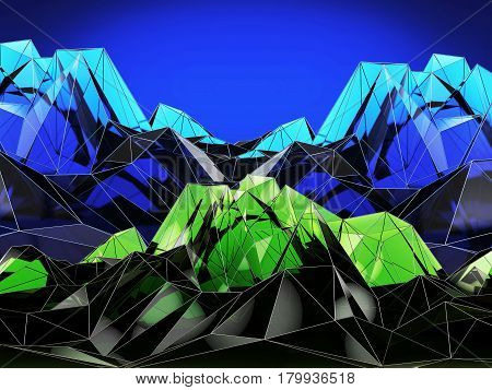 Abstract Blue And Green Mountain Landscape In Polygonal, 3D Illustration