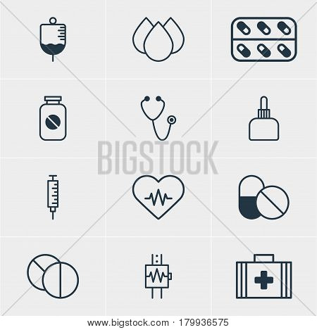 Vector Illustration Of 12 Medicine Icons. Editable Pack Of Trickle, Antibiotic, Heart Rhythm And Other Elements.