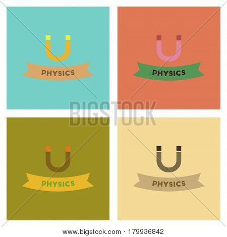 assembly of flat icons school physics lesson