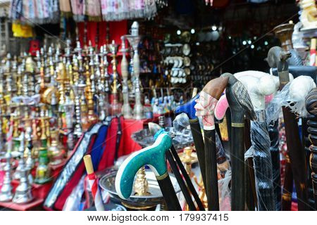 CAIRO, EGYPT - SEPTEMBER 14, 2016: Historical Khan El-Khalili Souq marketplace is one of the tourist magnets in Capital City Cairo