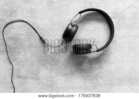 Headset On A Concrete Background