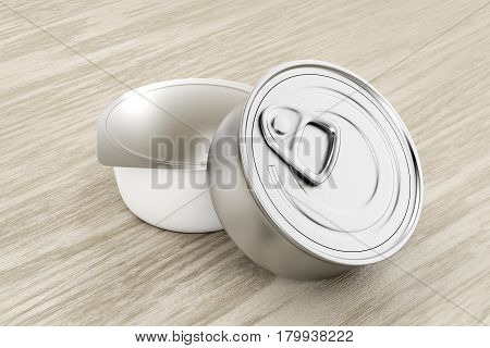 Tin cans for pate cheese butter or other food on wood background, 3D illustration