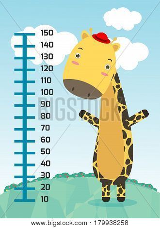 Meter wall with giraffe. Cheerful funny giraffe height. vector illustration.