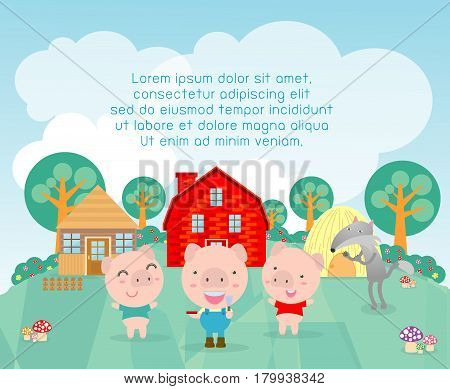 Three little pigs, Three little pigs fable with cartoon wolf. vector illustration