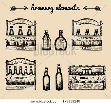 Vector set of vintage brewery elements. Retro collection with beer icons, signs. Lager, ale hand drawn symbols. Boxes, crates with bottles sketches.