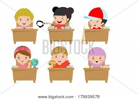 kids in classroom, child in classroom, kids studying in classroom, little school children, sitting at the desks,Back to school, Vector Illustration