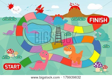 board game with Dinosaurs, Illustration of a board game with Dinosaurs background. game of kids