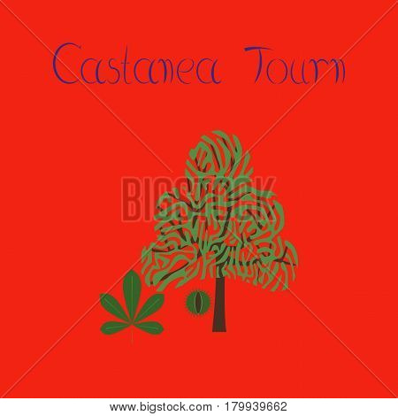 flat illustration on stylish background tree Castanea