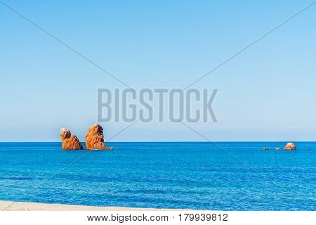 Red sea stack in Cea beach Sardinia