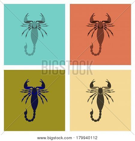 assembly of flat Illustrations nature animal Scorpio