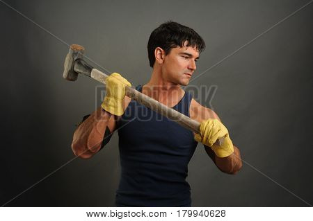 The tough construction man is ready to go to work