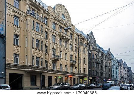 Riga Matisa street 44, Art Nouveau quarter, city landscape