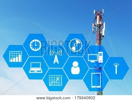 technology device icon and hexagon shaped pattern background with telecommunication tower with blue sky for radio television and telephony communication and technology concept.