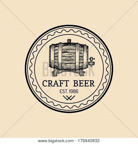 Kraft beer barrel logo. Old brewery icon. Hand sketched keg illustration. Vector vintage lager, ale label or badge