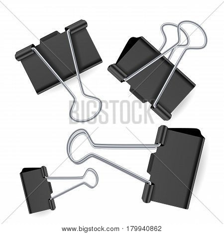Small Binder Clips Vector Isolated On White. Realistic Paper Clip