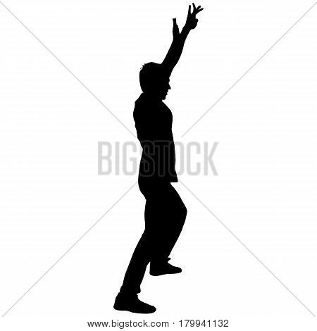 Black Silhouettes breakdancer on a white background.