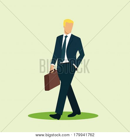 Blonde businessman walking with briefcase. Successful business man. Cartoon character. Vector stock.