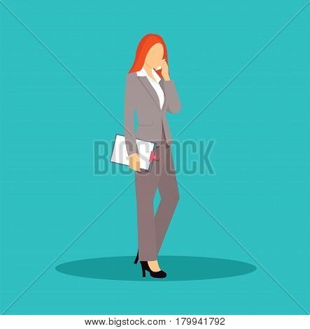 Business woman talking on mobile phone. Successful business woman. Cartoon character. Vector stock.