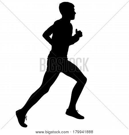 Black Silhouettes Runners sprint men on white background.