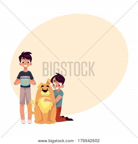 Two teenage boys, children, kids, one hugging big fluffy dog, another holding fish bowl, cartoon vector illustration with place for text. Two boys with pets - big brown dog and golden fish