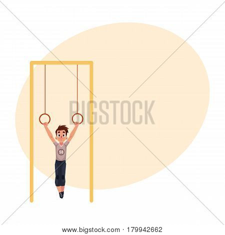 Teenage Caucasian boy hanging on gymnastic rings at the playground, cartoon vector illustration with place for text. Boy hanging on flying rings, little gymnast having fun at the playground