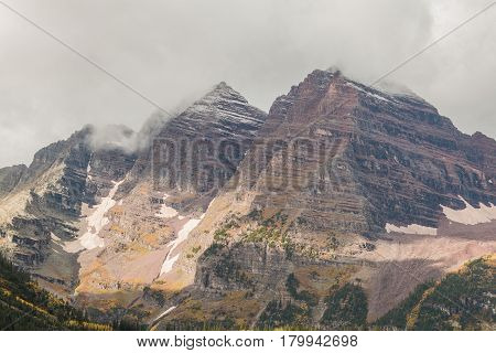 the rugged landscape of the maroon bells Aspen Colorado in fall