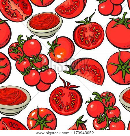 Seamless pattern, backdrop design of with ripe red tomatoes, salsa, ketchup bowl, sketch vector illustration on white background. Hand drawn tomato seamless pattern for banner, wrap, textile design