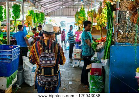 Male, Maldives - December 17, 2016: Indoors Fresh Fruits And Vegetables Market In City Male, The Cap