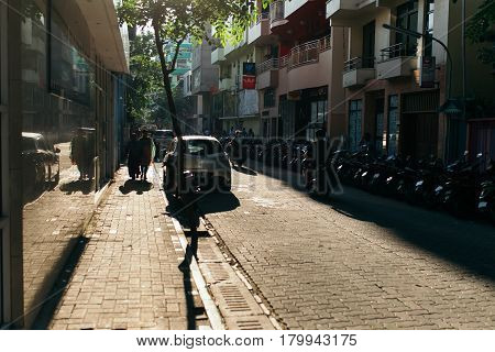 Male, Maldives - December 17, 2016: People On The Street Ride Motorcycles In The City Of Male, The C