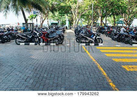 Male, Maldives - December 17, 2016: Motorcycles Is Parked At Parking Lot In The City Of Male, The Ca