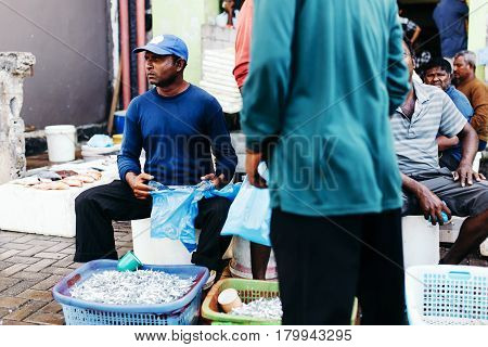 Male, Maldives - December 17, 2016: Fish for sale at the Fish Market in the city of Male capital of Maldives