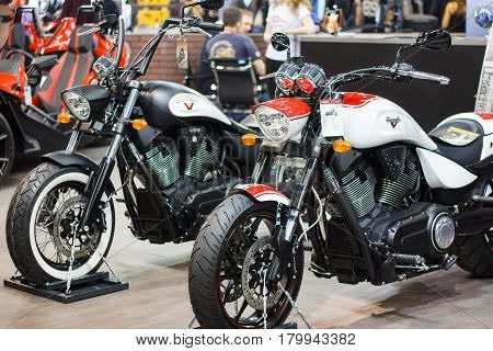 ST. PETERSBURG, RUSSIA  - APRIL 16, 2016: - Victory Motorcycles Hammer S on display at International motorcycle industry salon IMIS. Selective focus.