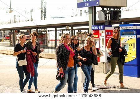 Munich,Germany-July 16,2016: A group of women celebrating a bachelorette walk on Munich Central Station