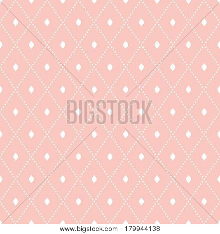 Geometric dotted pink and white pattern. Seamless abstract modern texture for wallpapers and backgrounds