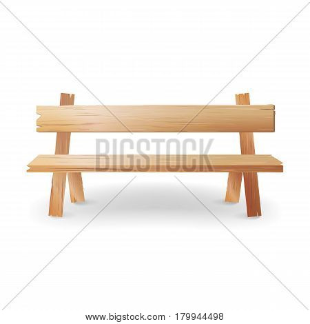 Wooden Bench Realistic Vector Illustration. Park Brown Classic Bench With Shadow