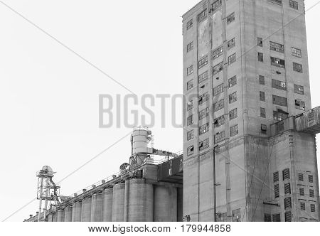 Kansas City Grain Elevator In Monochrome