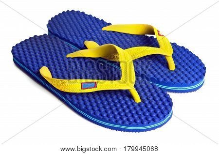 Rubber embed with plastic sandal or slipper product with black and yellow stripes isolated on white