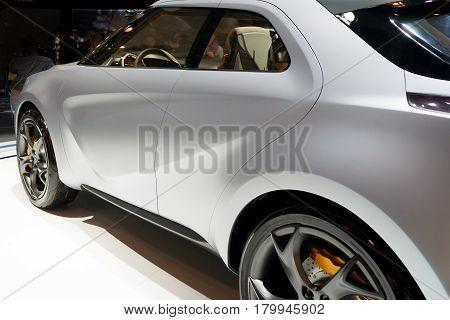 Rear-side view of a modern sport car