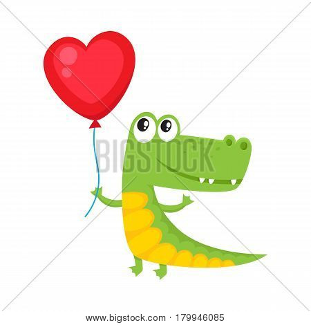 Cute and funny crocodile holding red heart shaped balloon, cartoon vector illustration isolated on white background. Crocodile holding heart balloon, birthday greeting decoration