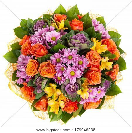 Colorful bouquet of orange roses and gerberas isolated on white background