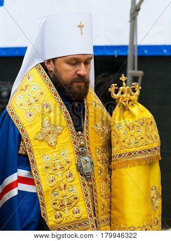 MOSCOW - JANUARY 27, 2015: Metropolitan Hilarion is present at a ceremony marking the start of construction of a new modern cultural center at the Moscow State Conservatory.