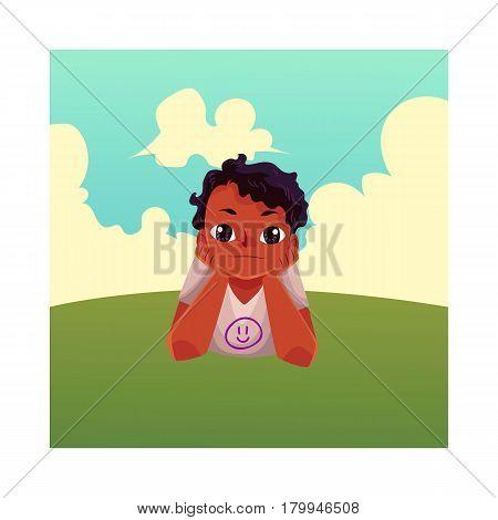 Teenage black, African American boy with big eyes lying on grass under summer sky, colorful cartoon vector illustration. Black, African boy, kid, child lying on the grass, summer vacation concept